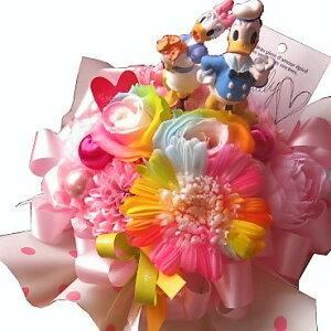 結婚祝い ドナルド デージー 入り 花 レインボーローズ2 レインボーガーベラ1 プリザーブドフラワー入り ドナルド デージー ノーマル ケース付き