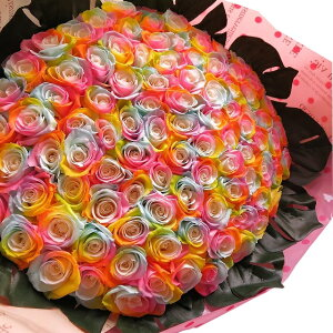 クリスマスプレゼント 花 レインボーローズ 100本 プリザーブドフラワー レインボーローズ 花束 レインボーローズ100本使用 プリザーブドフラワー 花束 枯れずにいつまでもキレイなバラ 花