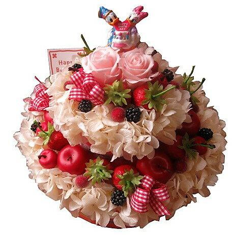 誕生日プレゼント 花 ディズニー フラワーケーキ フラワーギフト プリザーブドフラワー 7号ケーキ バースデーA ドナルド デージー
