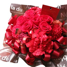 還暦祝い 赤バラ フラワーギフト プリザーブドフラワー ケース付き 赤バラいっぱい プリザーブドフラワー