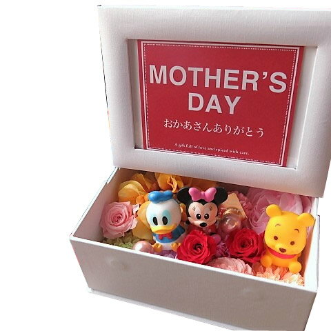 母の日 ディズニー 花 写真立て フォトフレーム プレゼント プリザーブドフラワー入り ミッキー ミニー…etc マスコット3個入り