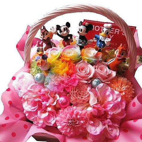 母の日 ディズニー 花 フラワーギフト レインボーカーネーション レインボーローズ プリザーブドフラワー ミッキー ミニー ドナルド デージー チップ&デール