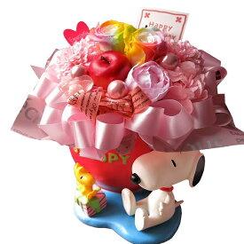 スヌーピー付き 花束風ギフト レインボーローズ プリザーブドフラワー入り ケース付き ◆誕生日プレゼント・記念日の贈り物におすすめのフラワーギフト
