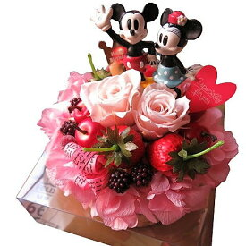 結婚記念日プレゼント ディズニー フラワーギフト フラワーケーキ プリザーブドフラワー入り ケース付き ノーマル ミッキー ミニー◆誕生日プレゼント・記念日の贈り物におすすめのフラワーギフト