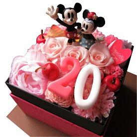 ディズニー 花束 箱を開けてサプライズ ミッキー ミニー入り ご希望数字入り ボックス プリザーブドフラワー入りギフト ノーマル ミッキー ミニー