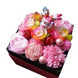 誕生日プレゼント ディズニー フラワーギフト 箱開けてスマイル ボックス入り レインボーローズ プリザーブドフラワー入り バースデー ドナルド デージーA