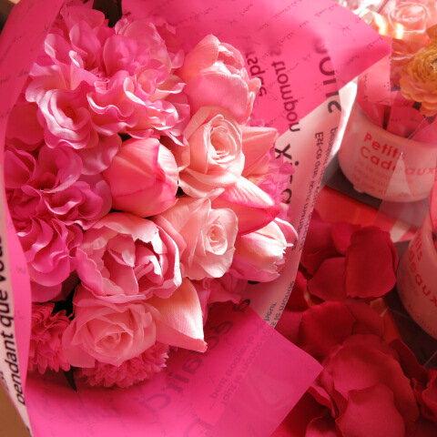 チューリップ 花束 いつでもチューリップ花束 バラプリザーブドフラワー入り ずっときれいなアートフラワー系チューリップ使用◆誕生日プレゼント・記念日の贈り物におすすめのフラワーギフト
