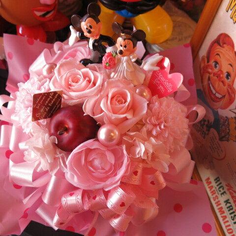 結婚祝い ディズニー フラワーギフト 花 プチ プリザーブドフラワー ウェディング ミッキー ミニーB ケース付き ◆結婚祝いプレゼント・記念日の贈り物におすすめのフラワーギフト