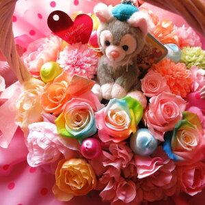 誕生日プレゼント ディズニー ジェラトーニ ぬいぐるみ 花 フラワーギフト プリザーブドフラワー カラフル レインボーローズ入り キャンディーカラー プリザーブドフラワー