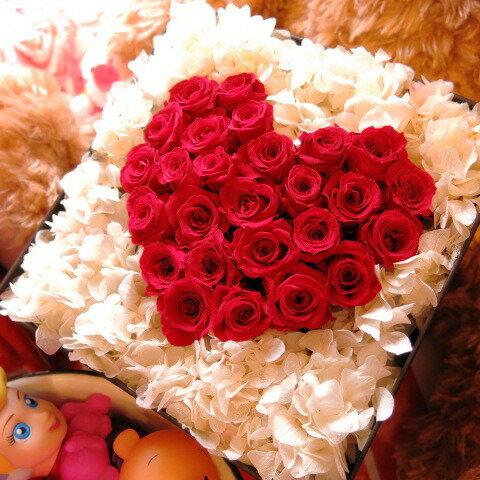 プロポーズ 花束風 ハート フラワーギフト プリザーブドフラワー 箱を開けるとサプライズ 箱一面お花がいっぱいの スマイル ハート フラワーギフト