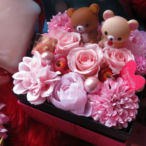 リラックマ入り 花 プレゼント 箱を開けてサプライズボックス ピンクバラ プリザーブドフラワー入り