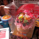 誕生日プレゼント マイメロ マスコット入り 花 レインボーローズ プリザーブドフラワー入り マイメロディ ケーキ フラワーギフト ケース付き