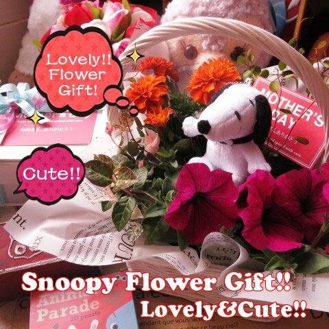 母の日 スヌーピー 鉢植え フラワーギフト お花はデザイナーにおまかせ スヌーピーストラップ入り