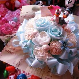 結婚祝い ドナルド デージー 入り 花 水色バラ プリザーブドフラワー ケース付き ◆結婚祝い・記念日の贈り物におすすめのフラワーギフト