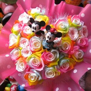 クリスマスプレゼント ミッキー ミニー入り 花 ハート レインボーローズ プリザーブドフラワー ケース付き 誕生日プレゼント 記念日の贈り物におすすめのフラワーギフト