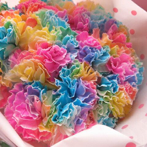母の日 プレゼント レインボーカーネーション 10本花束 ◆母の日ギフト限定品