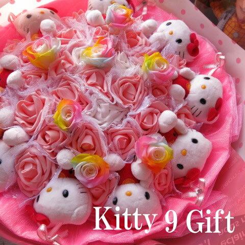 クリスマスプレゼント キティ 花束 フラワーギフト キティ9個入り レインボーローズ プリザーブドフラワー入り キティ ブーケ プレゼント フラワーギフト