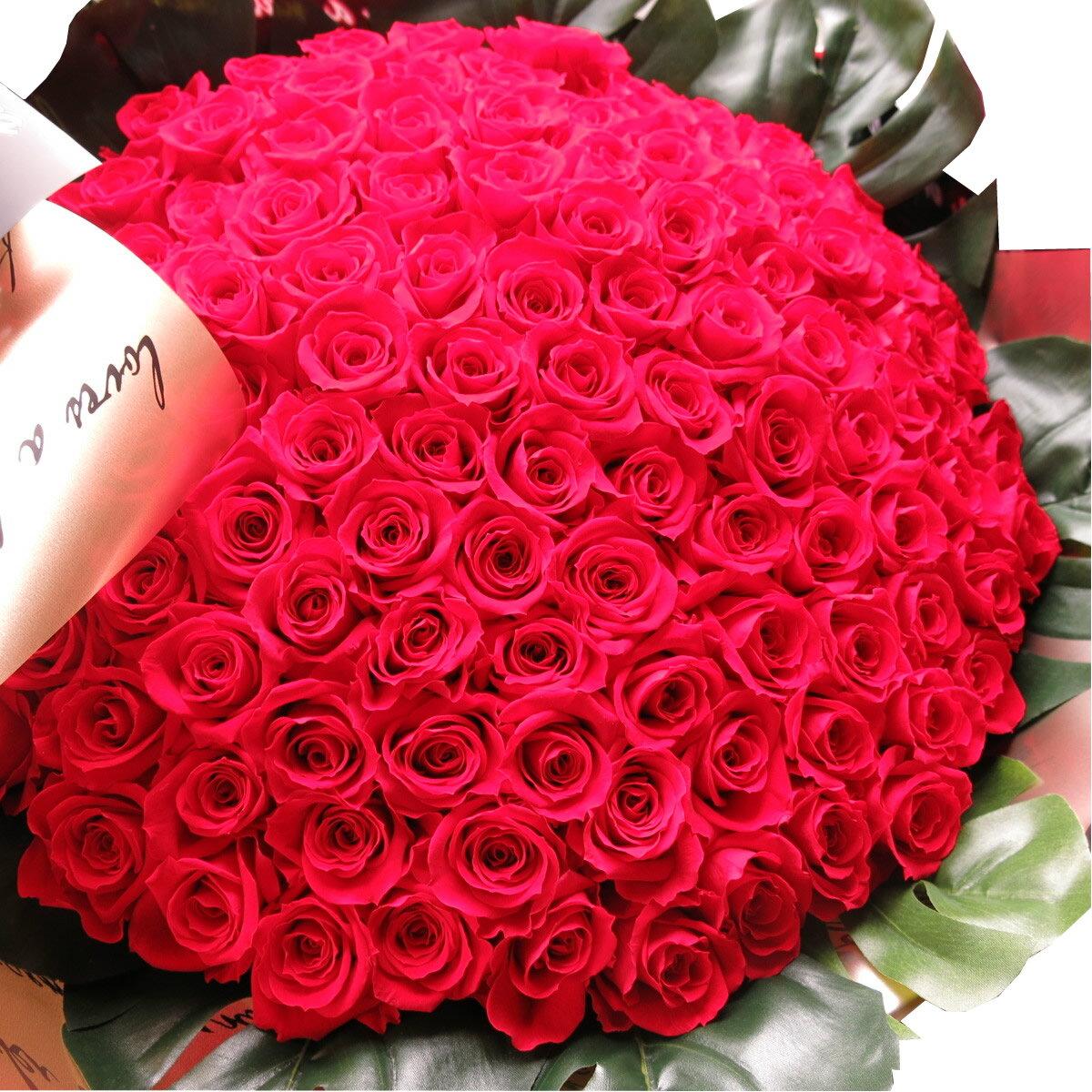 赤バラ 101本 プリザーブドフラワー 赤バラ 花束 赤バラ101本使用 プリザーブドフラワー 花束 枯れずにいつまでもキレイな赤バラ ◆誕生日プレゼント・成人祝い・記念日の贈り物におすすめのフラワーギフト