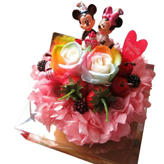 誕生日プレゼント 友達 彼女 ディズニー 花 レインボーローズ フラワーケーキ プリザーブドフラワー入り ケース付き バースデーA ◆誕生日プレゼント・記念日の贈り物におすすめのフラワーギフト