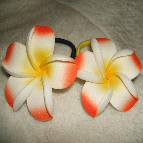 【クリックポストOK】造花プルメリア 髪ゴムMサイズ2個組 12色あります BALI