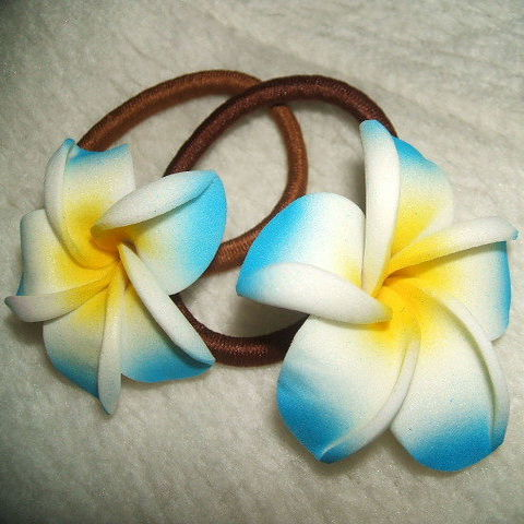【クリックポストOK】造花プルメリア 髪ゴムSサイズ2個組 16色あります BALI