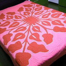 【送料無料】バリキルト ベッドカバー ダブルサイズ アンスリウム柄ピンク 手書きバティック ハワイアンキルト調 BALI【smtb-TD】