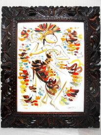 【送料無料】バリ絵画 バリニーズ イエロー 40x30cm 透かし彫りフレーム LG608 BALI