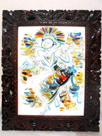 【送料無料】バリ絵画 バリニーズ グリーン 40x30cm 透かし彫りフレーム LG640 BALI