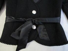 PRIVATE LABEL ブラックフォーマル デザインジャケット 2釦 ウエストリボン付 長袖 M 古着 レディース FG-2 ★併20201219