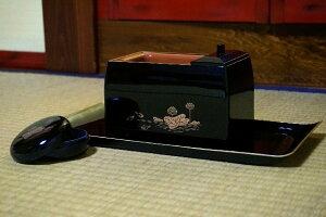 [仏具] 焼香セット 蓮柄 5.0寸 【廻し香炉】 黒色、朱色から選べます