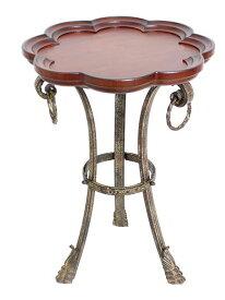 輸入家具 サイドテーブル コーヒーテーブル アイアン 木製 ランプテーブル フラワー 花 ライオン アンティーク シャビーシック FM-138 送料込み