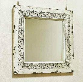 輸入雑貨 ホワイト アンシェントミラー 壁掛けミラー 鏡 コベントガーデン Covent リビングスタジオ シャビーシック アンティーク フレンチ IZ-87