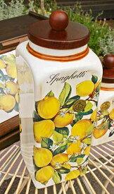イタリア製 輸入雑貨 パスタボトル パスタジャー 密閉容器 陶器 レモン リビングスタジオ 直輸入 アンティーク トスカーナ LCS-674LE 送料込み