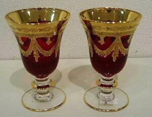 イタリア製 輸入雑貨 ワイングラス ペア セット レッド 赤 金 リビングスタジオ 直輸入 インターグラス Interglass エッチング ベネチア HKT-095R 全国送料無料