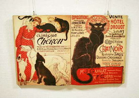 輸入雑貨 壁飾り 本 スタンラン 黒猫 ウォールデコレーション シャノアール シャビーシック フランス モンマルトル ネコ 壁掛け 28552