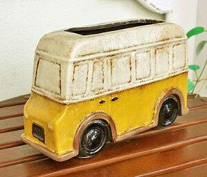 輸入雑貨 フラワーポット バス 黄色 プランター 鉢カバー フラワーベース 陶器 ミニカー シャビー カントリー ナチュラル ガーデン 29266