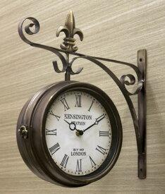 輸入雑貨 時計 吊り下げ時計 ステーションクロック ブロンズ クラシック ヨーロピアン シャビーシック アンティーク 1508-20-KENSINGTON 送料込み