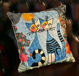輸入雑貨 クッション ネコ ロジーナ ヴァハトマイスター 刺繍 リビングスタジオ Rosina Wachtmeister 猫 ウィーン イタリア ロマンス RC42
