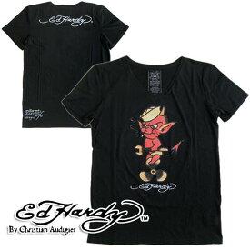 エドハーディー/Ed Hardy 半袖Tシャツ メンズ Vネック「DEVIL」 日本限定モデル