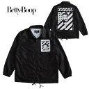 ベティーブープ Betty Boop メンズ コーチジャケット カラー:BLACK キャラクター ジャケット ジャンパー ブルゾン アウター