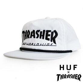"""HUF(ハフ)×THRASHER(スラッシャー)コラボ ナイロン スナップバック キャップ/帽子 """"COLLAB LOGO HAT"""" カラー:WHITE メンズ レディース ぼうし ファッション"""
