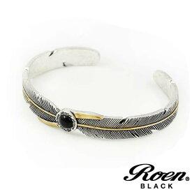 Roen BLACK/ロエンブラック フェザーブレスレット/バングル オニキス シルバー×ブラック メンズアクセサリー/正規ライセンス品
