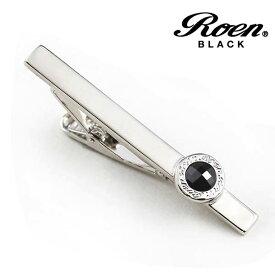 Roen BLACK/ロエンブラック タイバー タイホルダー ネクタイピン キュービックジルコニア シルバーカラー メンズアクセサリー/正規ライセンス品
