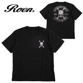 Roen ロエン メンズ 半袖Tシャツ カラー:BLACK レディース ロゴ ファッション カットソー プリント スカル 丸首 ストリート カジュアル ギフト プレゼント