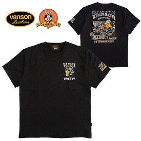 VANSON/バンソン Looney Tunes(ルーニー・テューンズ) コラボ メン半袖Tシャツ トゥイティー/TWEETY/キャラクター/刺繍