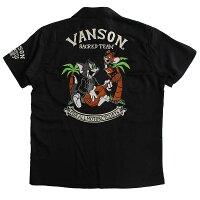 VANSONバンソンメンズストレッチツイル開襟半袖シャツボーリングシャツ刺繍