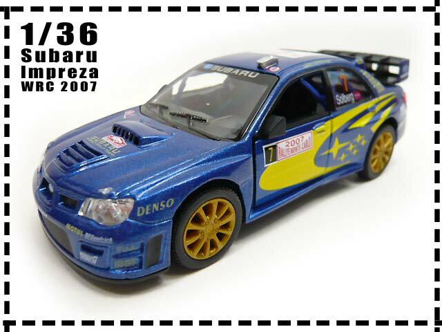 スバルSUBARU■1/36 インプレッサ WRC 2007■ブルー■プルバック/おもちゃ/車/男の子/ミニカー/インテリア雑貨