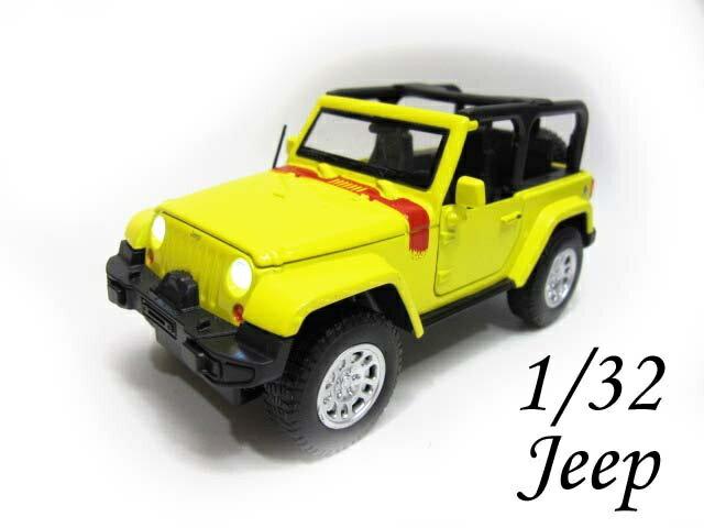 1/32 JEEP ラングラー ギミック ミニカー 黄 ジープ MINICAR Wrangler クライスラー プルバック