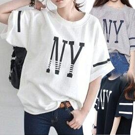 【ゆったり NYロゴ Tシャツ】 レディース 白 Tシャツ(半袖) トップス ドルマン ロング丈 ロングtシャツ ロングカットソー トップス ゆるてろ tシャツD10