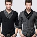 【送料無料】10タイプ シンプルロングTシャツ ポロシャツ 綿 コットン メンズ 長袖 無地 Vネック ヘンリーネック レディース メンズ T-SHIRTS ロンT ロンティー シンプル おしゃれ オ